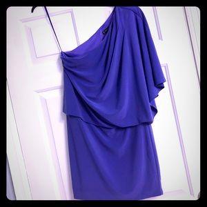 Dresses & Skirts - One Shoulder Purple Dress W/ flutter sleeve Size 6